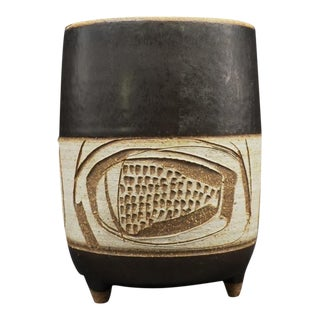 Joel Edwards Mid Century Abstract Footed Pot For Sale