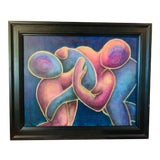 Image of Contemporary Expressionist Female Nude Framed Oil Painting by M. Tarnowski For Sale