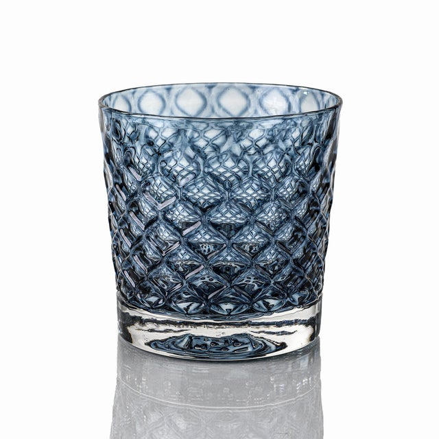 Modern Mindala Short Glasses, Blues and Green - Set of 6 For Sale - Image 3 of 12