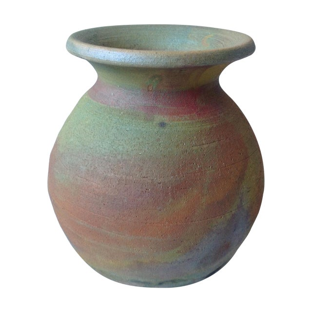 Earth Tone Raku Pottery Vase - Image 1 of 11