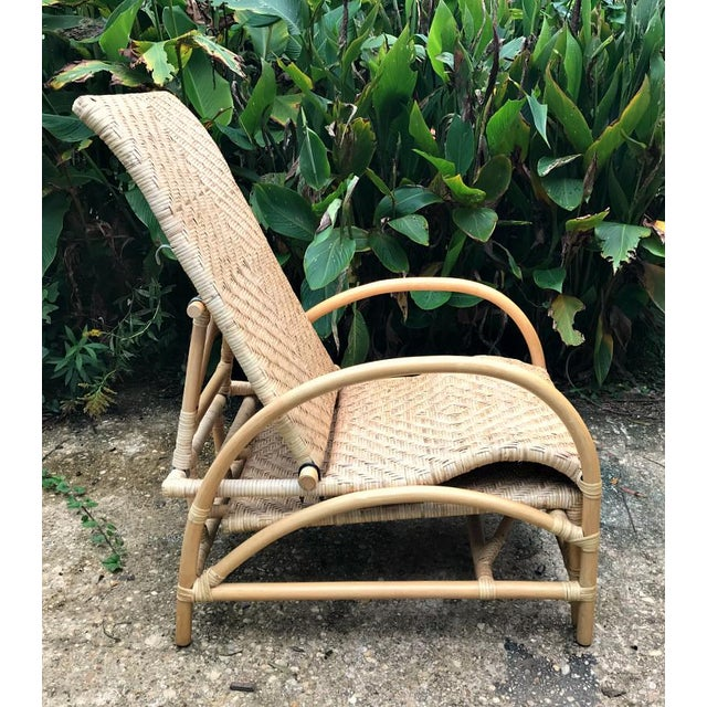 Boho Chic Vintage Rattan Bamboo Adjustable Chaise Lounge Chair For Sale - Image 3 of 10
