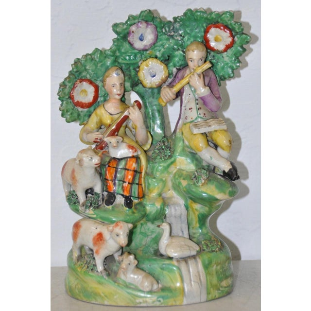 Early Staffordshire Figural Group Musicians With Sheep, 18th C. For Sale - Image 9 of 9