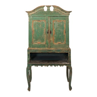 Mid-18th Century Green Painted Baroque Cupboard, Denmark For Sale