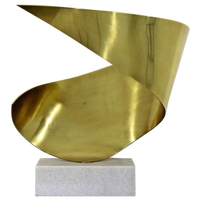 Mid-Century Modern Bronze Ribbon Marble Table Sculpture Signed James Nani 1978 For Sale - Image 13 of 13