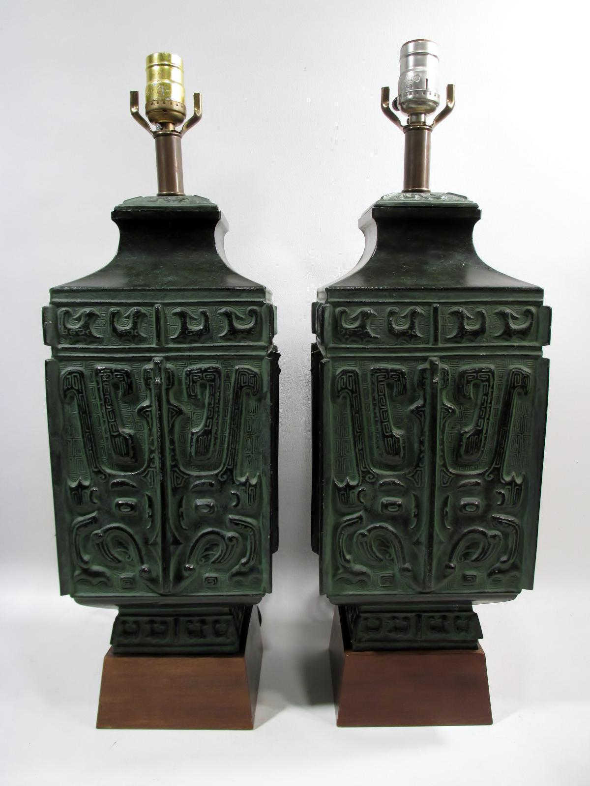 Mid Century Chinese Archaic Style Verdigris Bronze Table Lamps A