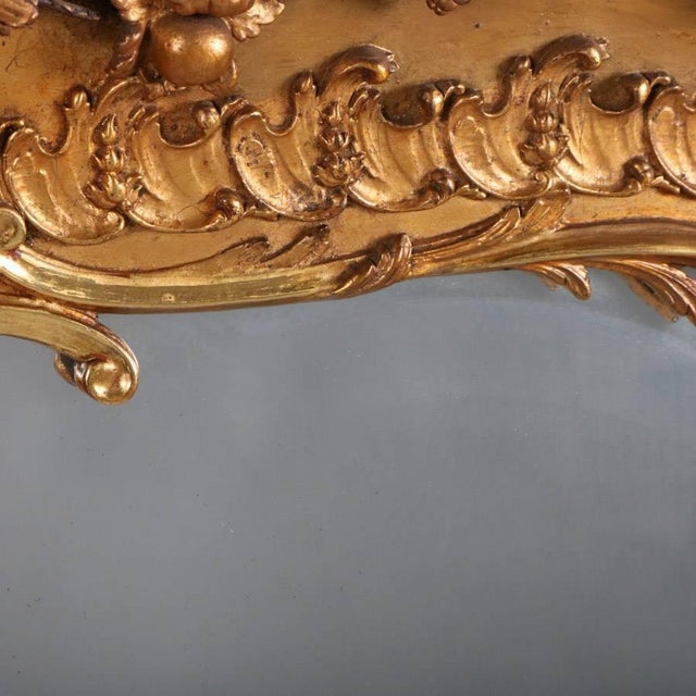Gold Monumental Antique French Marie Antoinette Pierced Giltwood Over Mantel Mirror For Sale - Image 8 of 11