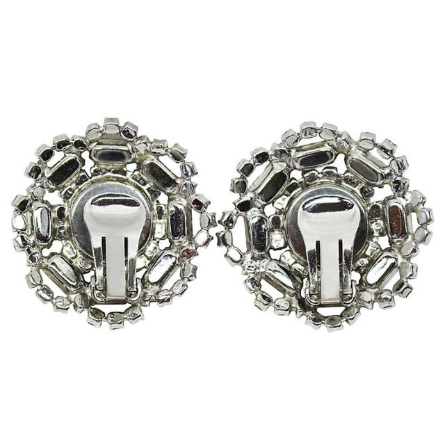 Mid-Century Modern 1960s Crystal Cocktail Clip-Back Earrings For Sale - Image 3 of 6