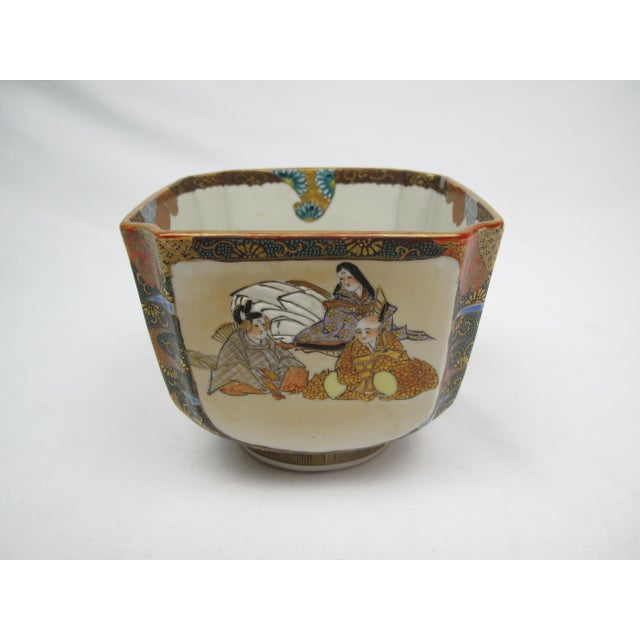Late 19th Century Antique Japanese Square Bowl with Man Riding Fish For Sale - Image 9 of 9