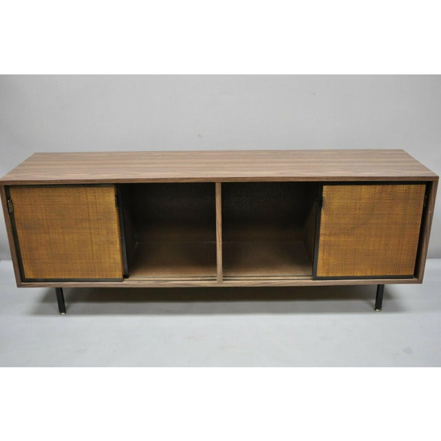 Brown 1970s Mid Century Modern Laminate Formica Case Credenza For Sale - Image 8 of 13