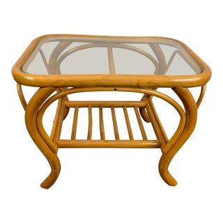 20th Century Boho Chic Curved Bamboo End Table For Sale