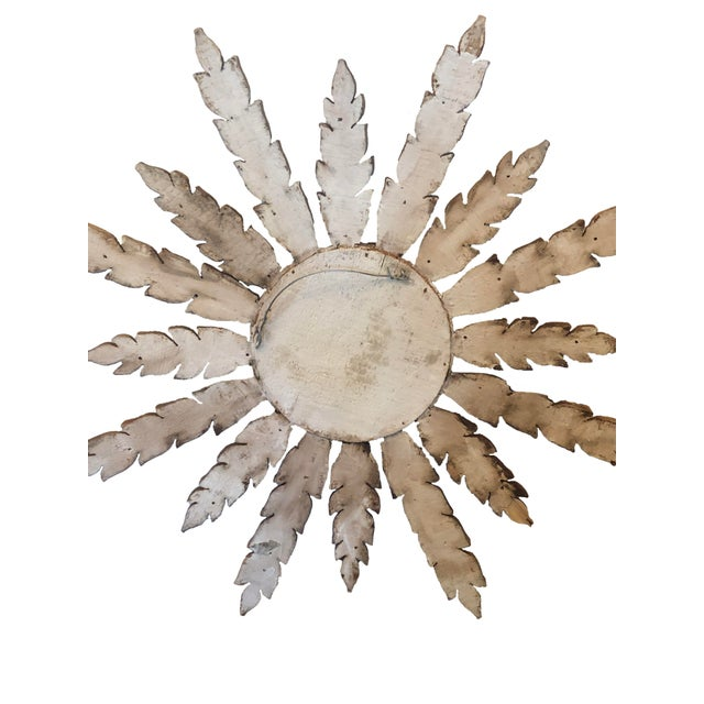 Large French Mid Century Gilt Starburst Mirror For Sale In Dallas - Image 6 of 7