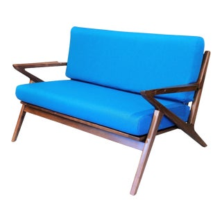 Mid Century Curated Loveseat Z Shaped Danish For Sale