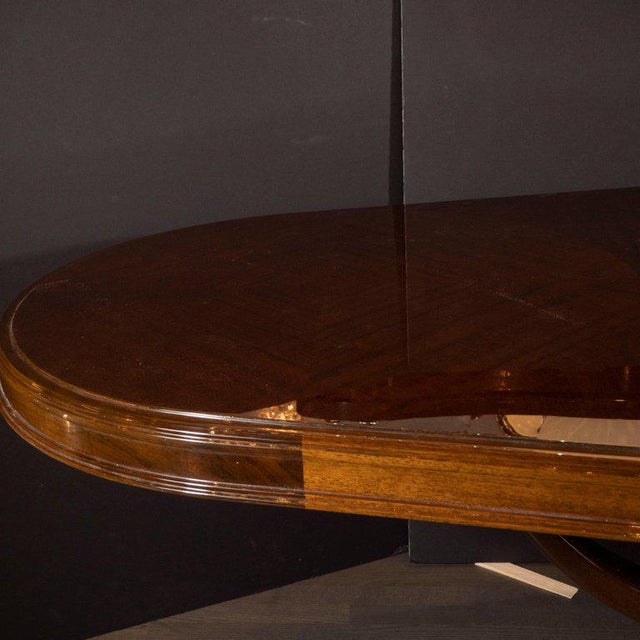 Art Deco Book Matched Mahogany Dining Table With 24-Karat Gilt Acanthus Details For Sale - Image 9 of 12
