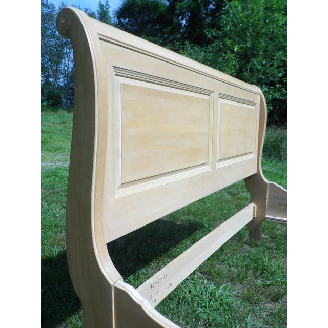 Vintage Ethan Allen Country French Bisque Birch Full Double Sleigh Bed - Image 10 of 11