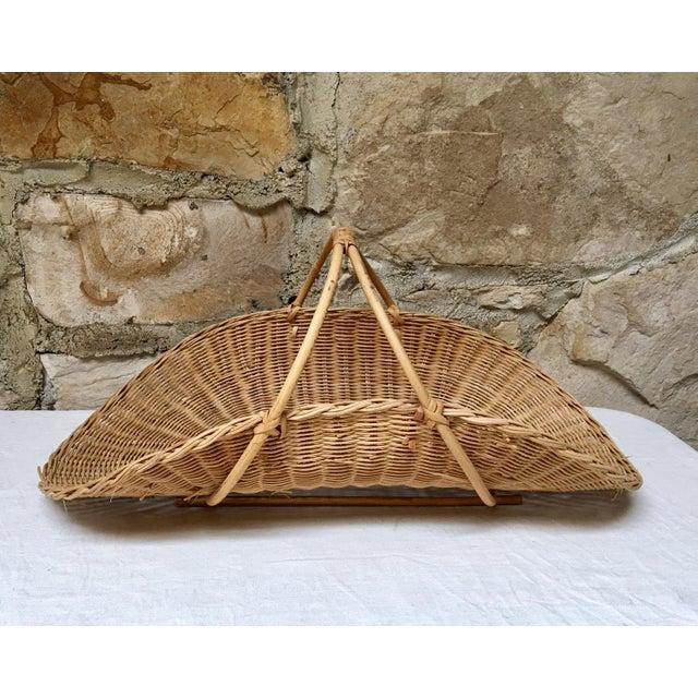 Tan 1970s Boho Chic Wicker Rattan Flower Gathering Basket For Sale - Image 8 of 8