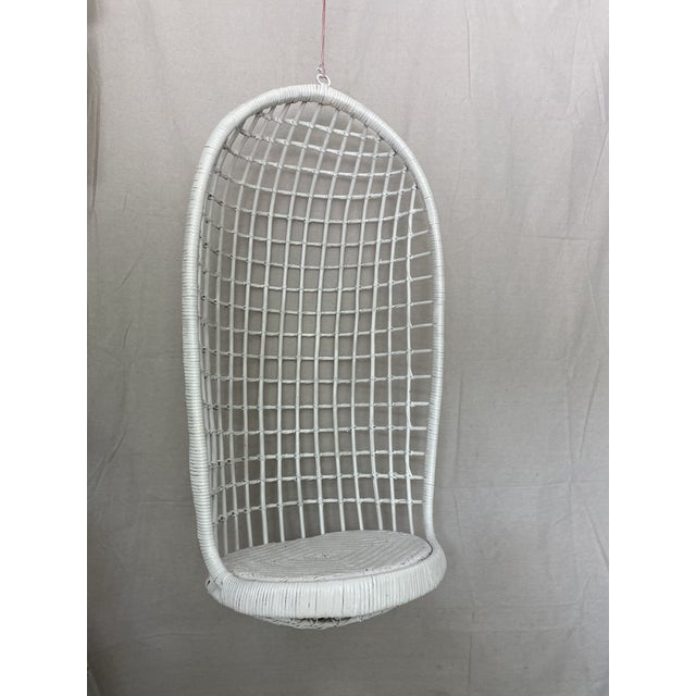 Mid-Century Modern Vintage Hanging Rattan Egg Chair For Sale - Image 3 of 13