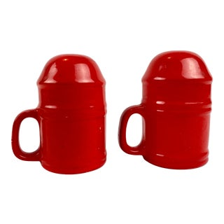 Mid-Century Modern Vintage Japanese Glazed Red Ceramic Salt and Pepper Shakers - a Pair For Sale