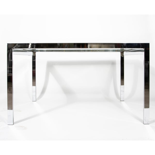 Milo Baughman 1950s Modern Milo Baughman Nickel Plated Glass Expansion Table For Sale - Image 4 of 10