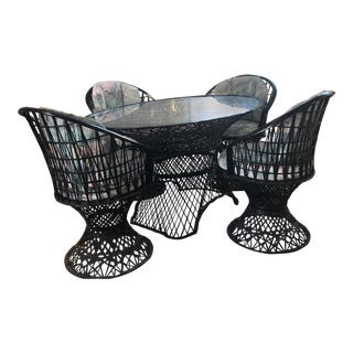 Boho Chic Black Oval Russel Woodard Spun Dining Set - 5 Pieces For Sale