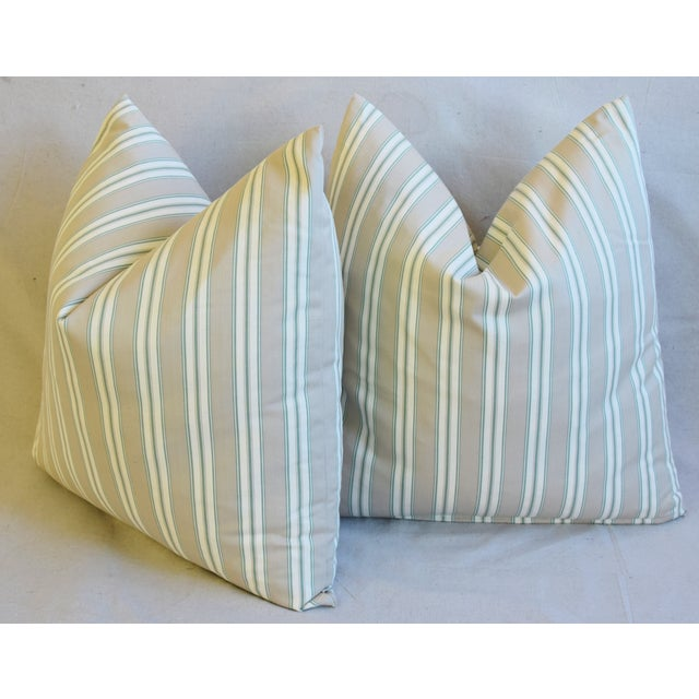 """French Striped Ticking Feather/Down Pillows 23"""" Square - Pair For Sale - Image 9 of 11"""