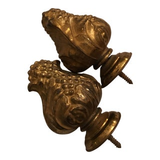 Antique Brass Window Treatment Finials - A Pair