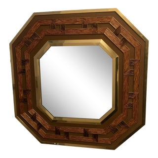 Vintage Octagonal Brass and Reed Mirror For Sale