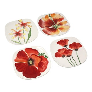 """Vintage Fitz and Floyd """"In Bloom"""" Snack/Canape Plates - Set of 4 For Sale"""