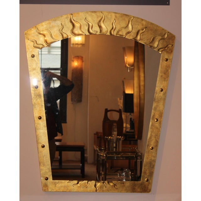 Stunning 1980s Èglomisè gold leaf mirror by David Marshall with flame pattern.