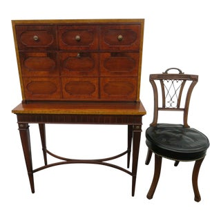 Hollywood Regency Secretary Writing Desk With a Chair by Thomasville For Sale