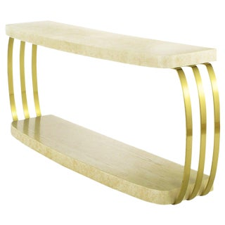 Henredon Postmodern Brushed Brass and Cerused Oak Console Table For Sale