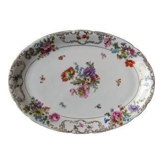 Vintage Porcelain Floral Platter For Sale