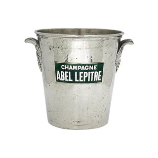 Vintage French Champagne Bucket W/ Enameling For Sale