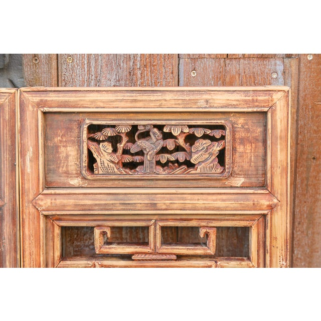 1940s Vintage Asian Lattice Carved Window Panels, Set of Two For Sale - Image 5 of 9