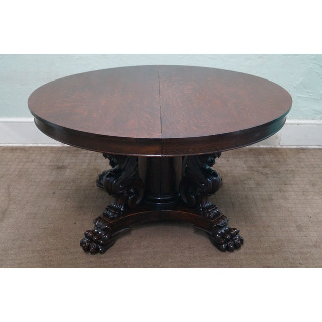 RJ Horner Antique Round Oak Griffin Dining Table - Image 2 of 10