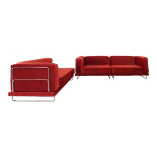 Vintage 3 Piece Sectional in Rich Berry For Sale
