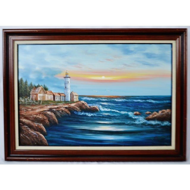 Vintage Framed Nautical Lighthouse Seascape Oil on Canvas - Artist Signed Condition consistent with age and history....