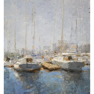"Beckham Oil Painting ""Two More Sloops"", Contemporary Blue Harbor Scene With Boats For Sale"