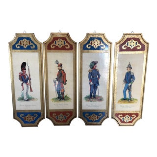 Vinage Florentine Military Officer Wall Art Plaques - Set of 4