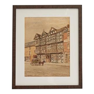 Original Watercolor of Tudor Half Timber Building by Peter Toft Circa 1896