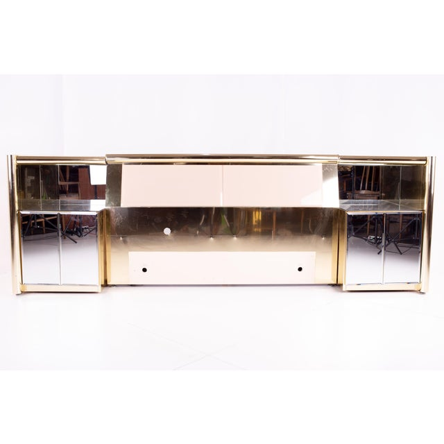 Ello Ello Mid Century Brass and Glass Queen Headboard and Nightstands For Sale - Image 4 of 5