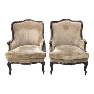 Early 20th Century Louis XIV Style Bergere Chairs- A Pair For Sale