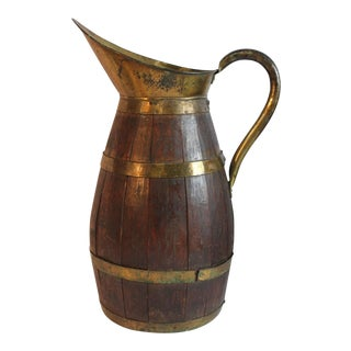 Antique French Wood & Brass Pitcher
