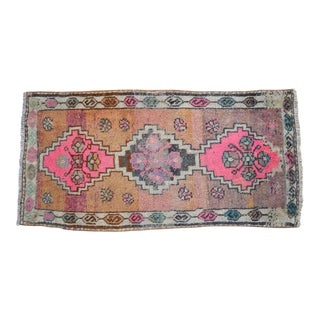 Distressed Low Pile Turkish Yastik Petite Rug Hand Knotted Faded Mat - 19'' X 39'' For Sale