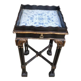 Chinese Chippendale Style Blue and White Porcelain Table For Sale