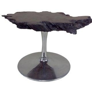 ** Black Walnut Burl Slab Side Table For Sale