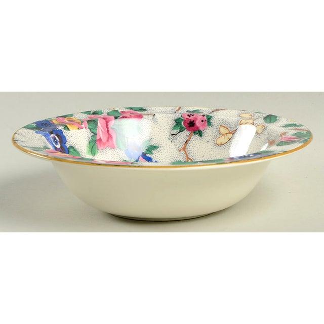 Crown Ducal Ascot Rim Small Bowl Set/4 features a large floral chintz design in pink, blue, and green with mustard yellow...
