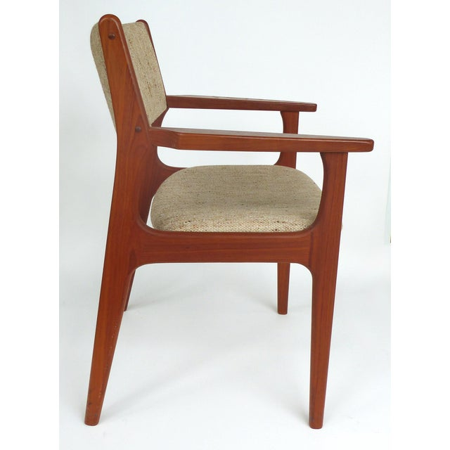 White Scandinavian Modern Teak Armchairs - a Pair For Sale - Image 8 of 13