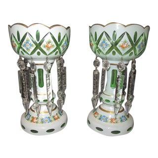 1900 - 1909 Bohemian Case Glass Mantel Lustres - a Pair For Sale