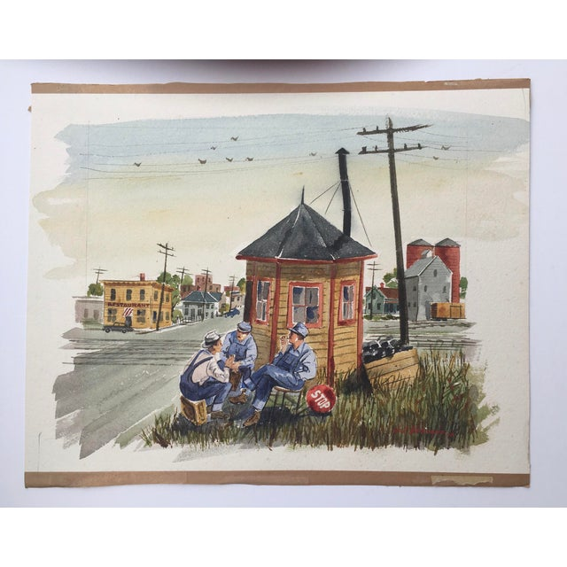 Shooting the Breeze, watercolor on paper by California/Kanas listed artist Harold J Werneke (1903-1968) Watercolor depicts...