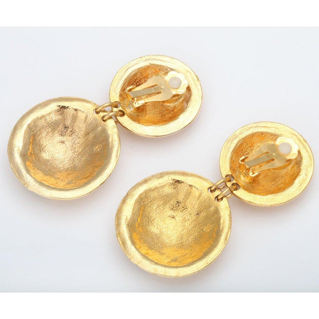 1970s Double Shield Dangle Earrings For Sale - Image 5 of 6
